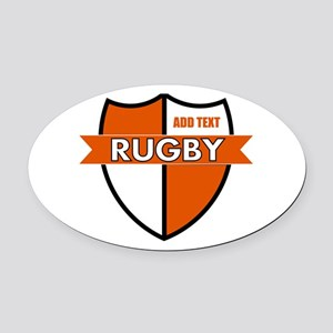 Rugby Shield White Orange Oval Car Magnet