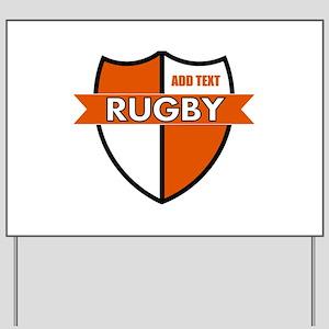 Rugby Shield White Orange Yard Sign