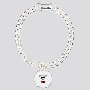 Godbless 40 Birthday Des Charm Bracelet, One Charm