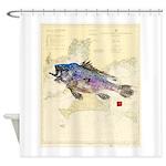 Black Sea Bass On Buzzards Bay Shower Curtain