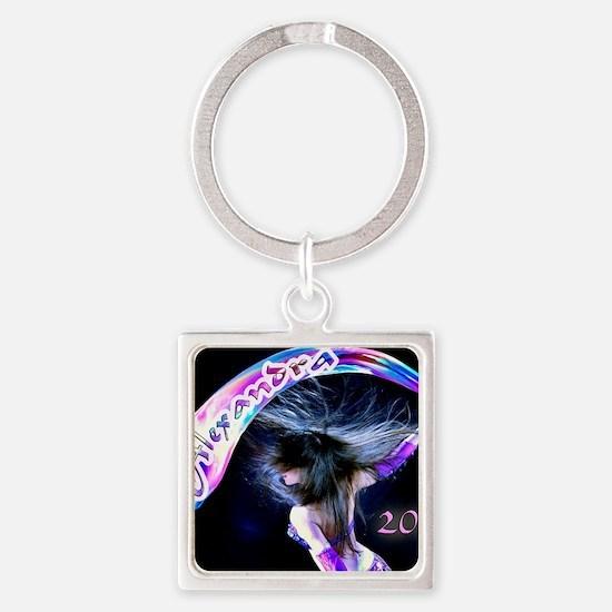 Rainbow Bellydance Square Keychain