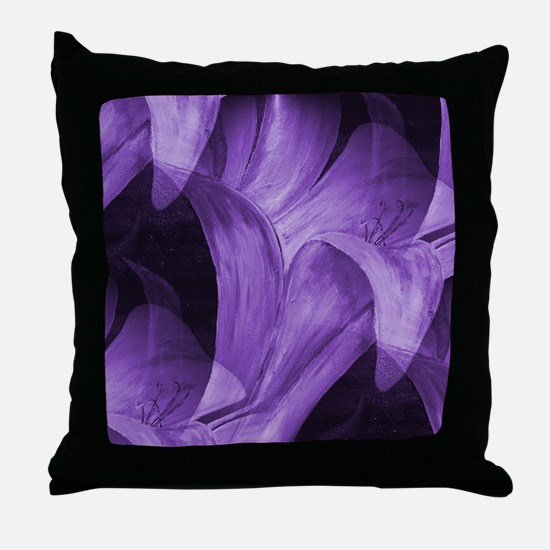 Purple Abstract Lily Throw Pillow