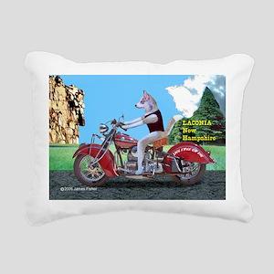 Siberian Husky Riding In Rectangular Canvas Pillow