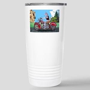 Siberian Husky Riding I Stainless Steel Travel Mug
