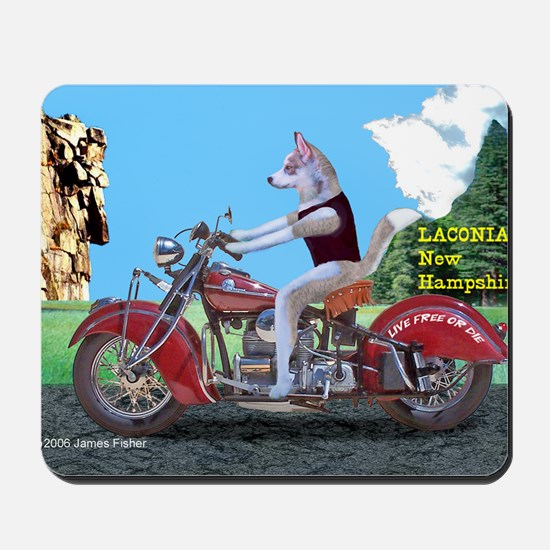 Siberian Husky Riding Indian Motorcycle  Mousepad