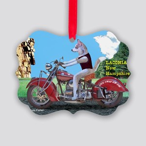 siberian husky riding indian moto picture ornament