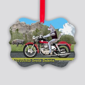 Siberian Husky Riding Harley in S Picture Ornament