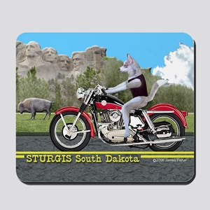 Siberian Husky Riding Harley in Sturgis  Mousepad