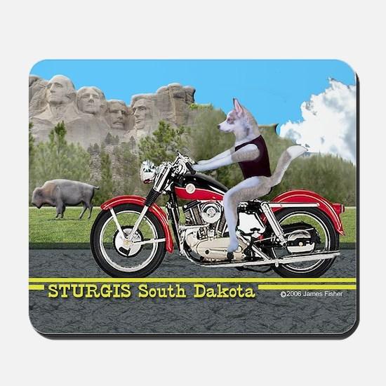 Siberian Husky Riding Harley in Sturgis  Mousepad