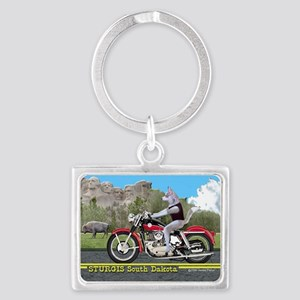 Siberian Husky Riding Harley in Landscape Keychain