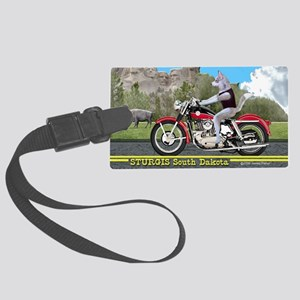 Siberian Husky Riding Harley in  Large Luggage Tag