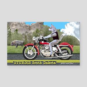 Siberian Husky Riding Harley  Rectangle Car Magnet