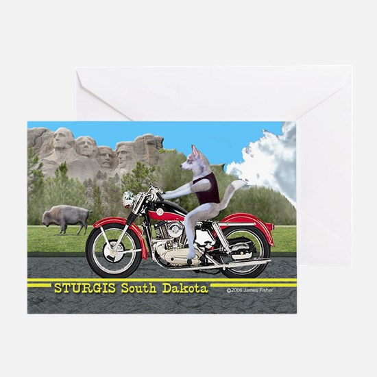 Siberian Husky Riding Harley in Stur Greeting Card
