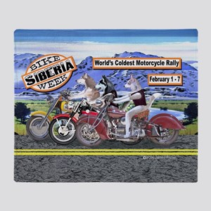 Siberian Husky Siberia Bike Week Mag Throw Blanket