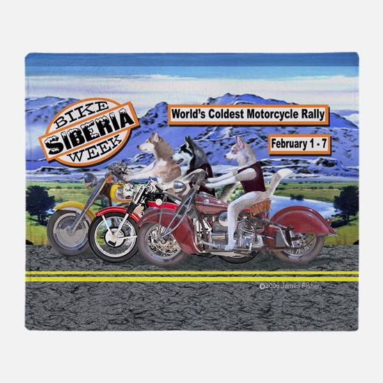 Siberian Husky Siberia Bike Week Mag Throw Blanket