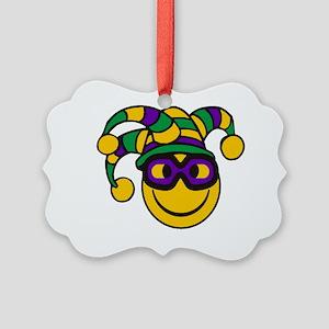 Mardi Gras Smiley Picture Ornament