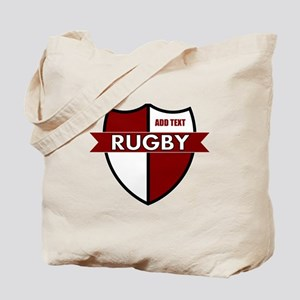 Rugby Shield White Maroon Tote Bag