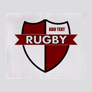 Rugby Shield White Maroon Throw Blanket