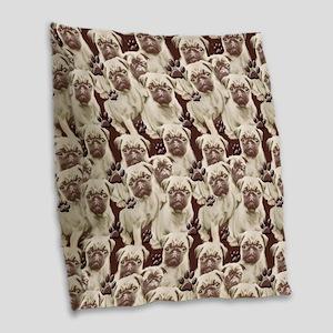 pug mural Burlap Throw Pillow