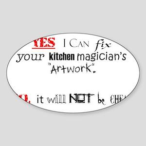 Kitchen magicians artwork... Sticker (Oval)