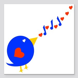 "Cute Love Bird Square Car Magnet 3"" x 3"""