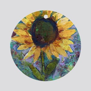 Sunflower Sunday Art Round Ornament