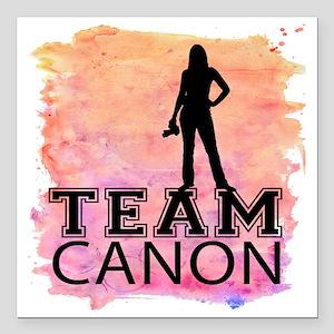 "Team Canon Watercolor Square Car Magnet 3"" x 3"""