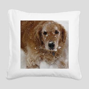 Golden Retriever in the snow Square Canvas Pillow