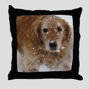Golden Retriever in the snow Throw Pillow