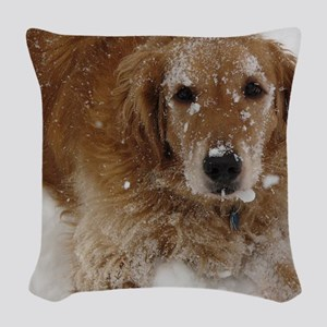 Golden Retriever in the snow Woven Throw Pillow