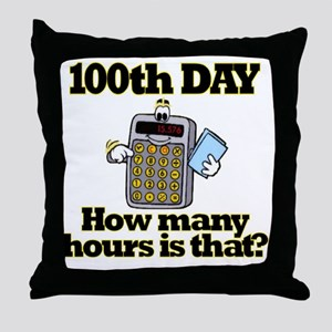 100th Day Calculator Throw Pillow