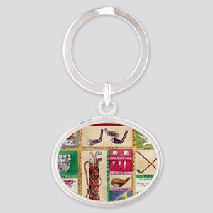 Golf Collage Oval Keychain