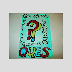 QUESTIONS cartoon design. Throw Blanket