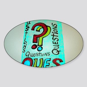 QUESTIONS cartoon design. Sticker (Oval)