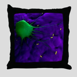 Macrophage attacking bacteria, artwor Throw Pillow