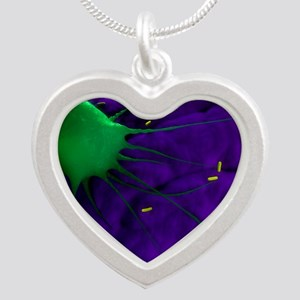 Macrophage attacking bacteri Silver Heart Necklace