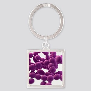 Streptococcus bacteria, artwork Square Keychain