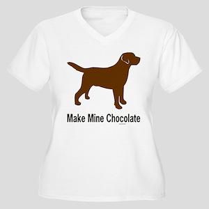 Make Mine Chocolate Lab Women's Plus Size V-Neck T