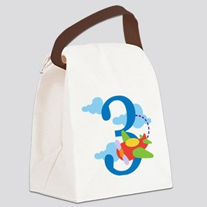 3rd Birthday Airplane Canvas Lunch Bag