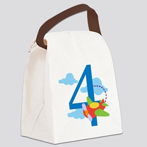 4th Birthday Airplane Canvas Lunch Bag