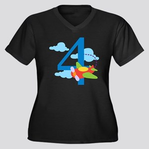 4th Birthday Women's Plus Size Dark V-Neck T-Shirt