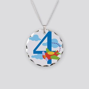 4th Birthday Airplane Necklace Circle Charm