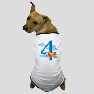 4th Birthday Airplane Dog T-Shirt