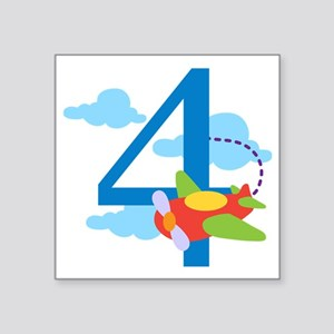 "4th Birthday Airplane Square Sticker 3"" x 3"""
