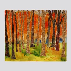 Sonatina Forest, Orange Throw Blanket