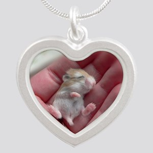Adorable Sleeping Baby Hamst Silver Heart Necklace