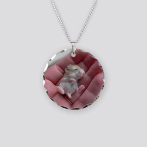 Adorable Sleeping Baby Hamst Necklace Circle Charm
