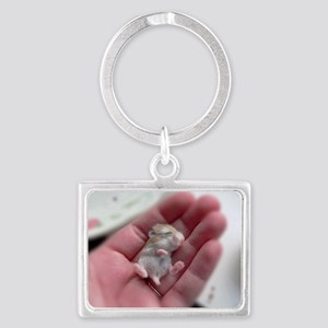 Adorable Sleeping Baby Hamster Landscape Keychain