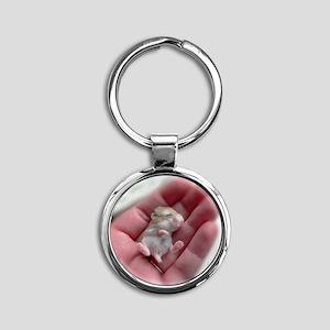 Adorable Sleeping Baby Hamster Round Keychain