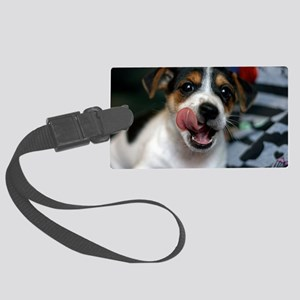 Puppy Licking Lips Large Luggage Tag